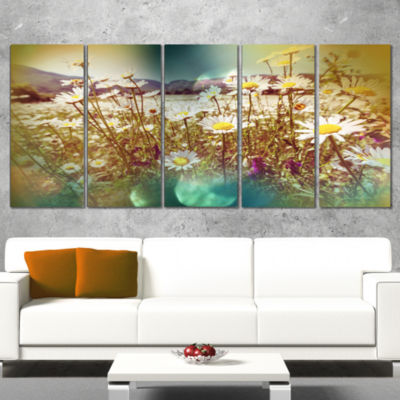 Designart Chamomile Flowers in Summer Garden Landscape Canvas Art Print - 5 Panels