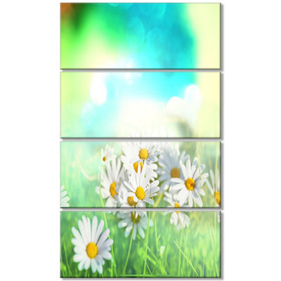 Designart Chamomiles On Abstract Background FloralCanvas Art Print - 4 Panels