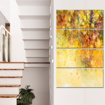 White Flowers and Soft Color Leaves Floral CanvasArt Print - 4 Panels