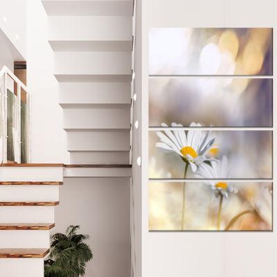 Designart Chamomiles On Blue Background Floral Canvas Art Print - 4 Panels