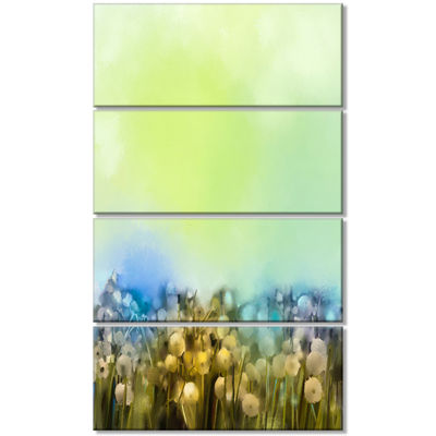 Designart White Flowers Garden in Soft Color Floral Canvas Art Print - 4 Panels