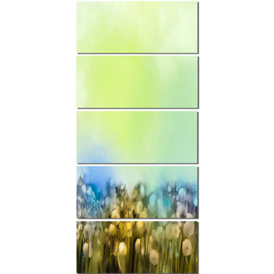 Designart White Flowers Garden in Soft Color Floral Canvas Art Print - 5 Panels
