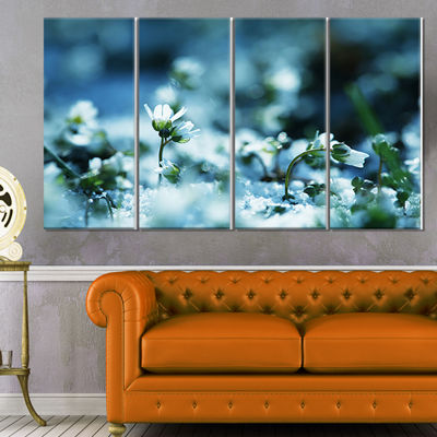 Designart White Flowers on Blue Background FloralCanvas ArtPrint - 4 Panels