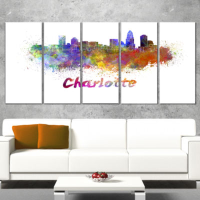 Designart Charlotte Skyline Cityscape Canvas Artwork Print -4 Panels