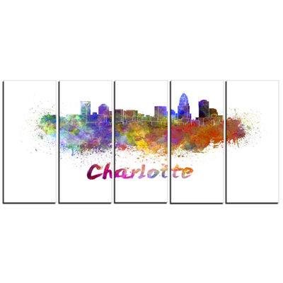 Designart Charlotte Skyline Cityscape Canvas Artwork Print -5 Panels