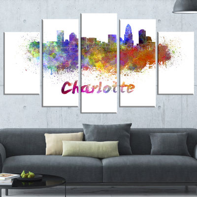 Charlotte Skyline Large Cityscape Canvas Artwork Print - 5 Panels