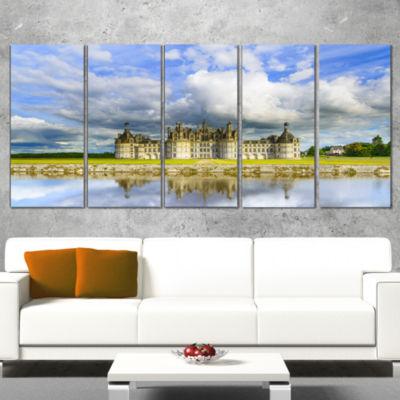 Designart Chateau De Chambord Castle and Reflection Extra Large Seashore Canvas Art - 4 Panels