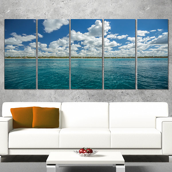 White Fluffy Clouds Over Sea Oversized Beach Canvas Artwork - 5 Panels