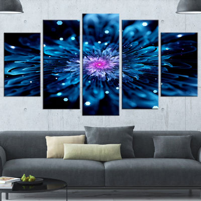 Designart White Fractal Flower on Brown Flower Artwork on Canvas - 4 Panels