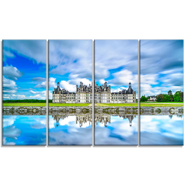 Designart Chateau De Chambord Castle in Blue Oversized Landscape Wall Art Print - 4 Panels
