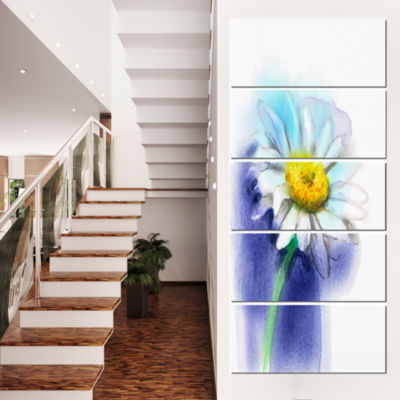 White Gerbera Daisy in Blue Large Flower Canvas Wall Art - 4 Panels