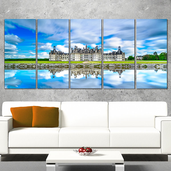 Chateau De Chambord Castle in Blue Oversized Landscape Wrapped Wall Art Print - 5 Panels