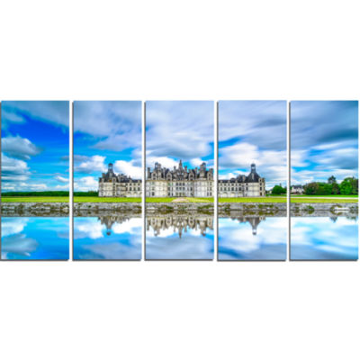 Chateau De Chambord Castle in Blue Oversized Landscape Wall Art Print - 5 Panels