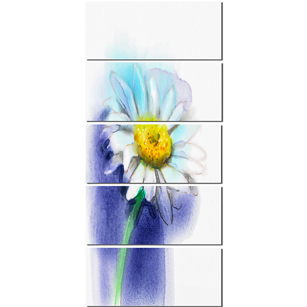 Designart White Gerbera Daisy in Blue Large FlowerCanvas Wall Art - 5 Panels