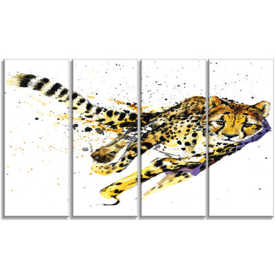 Cheetah Illustration Artwork Animal Canvas Art Print - 4 Panels