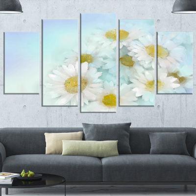 White Gerbera Flowers on Light Blue Large Floral Canvas Artwork - 4 Panels