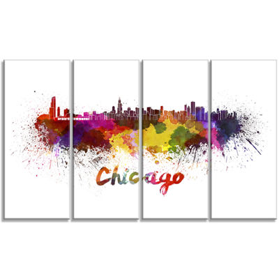 Designart Chicago Skyline Large Cityscape Canvas Art Print -4 Panels