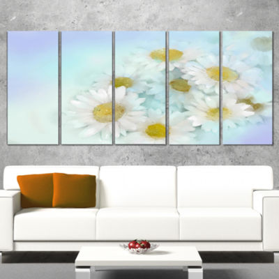 White Gerbera Flowers on Light Blue Large Floral Canvas Artwork - 5 Panels