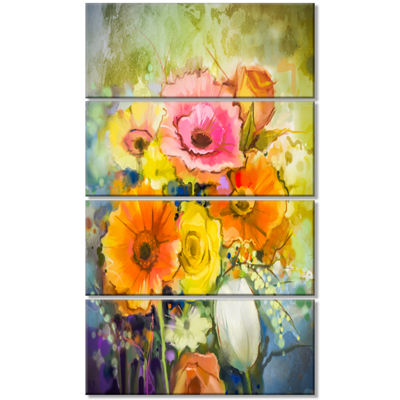 Designart White Gerbera Red Rose and Tulips FloralCanvas Art Print - 4 Panels