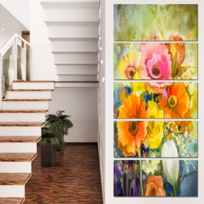 Designart White Gerbera Red Rose and Tulips FloralCanvas Art Print - 5 Panels