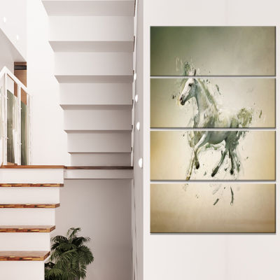 White Horse in Motion on Brown Animal Canvas WallArt - 4 Panels