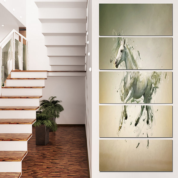 Designart White Horse in Motion on Brown Animal Canvas WallArt - 5 Panels
