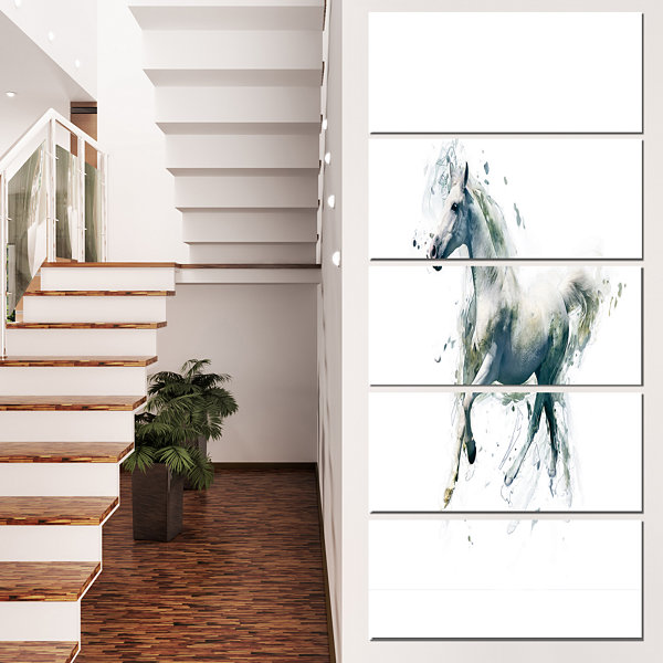 Designart White Horse in Motion on White Animal Canvas WallArt - 4 Panels