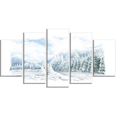 Designart Christmas Winter Happy Panorama Landscape WrappedCanvas Art Print - 5 Panels