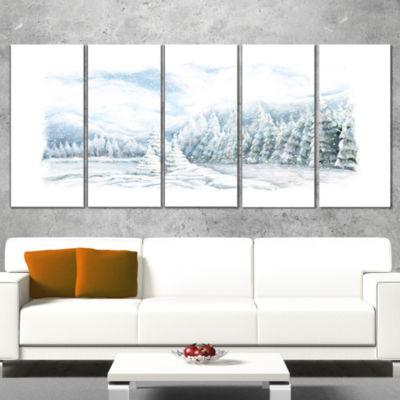 Designart Christmas Winter Happy Panorama Landscape Canvas Art Print - 5 Panels