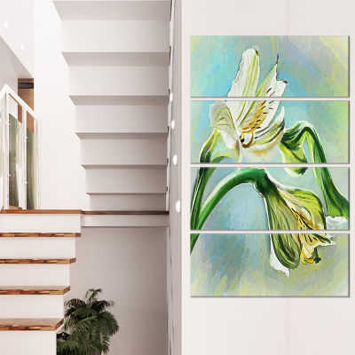 Designart White Lily Flower Sketch Watercolor Floral CanvasArt Print - 4 Panels