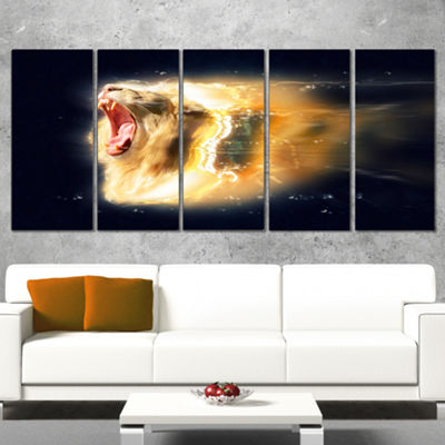 Designart White Lion with Open Jaws Animal CanvasWall Art -4 Panels