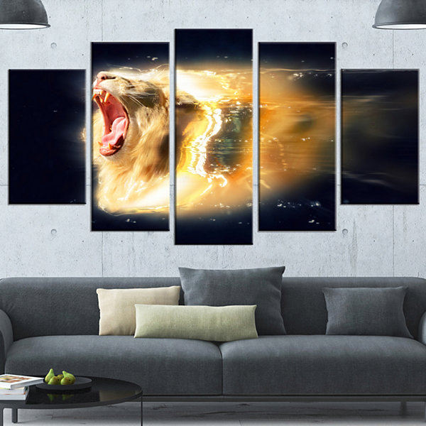 White Lion with Open Jaws Animal Wrapped Wall Art- 5 Panels