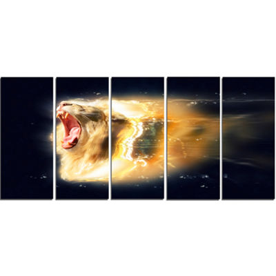 Designart White Lion with Open Jaws Animal CanvasWall Art -5 Panels