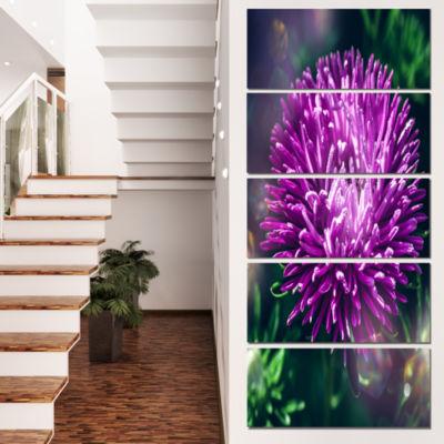Designart Chrysanthemum Flower with Bokeh FlowersCanvas Wall Artwork - 4 Panels