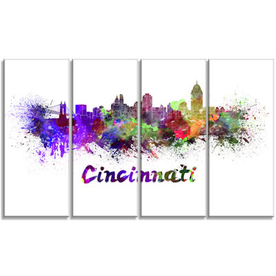 Designart Cincinnati Skyline Large Cityscape Canvas ArtworkPrint - 4 Panels