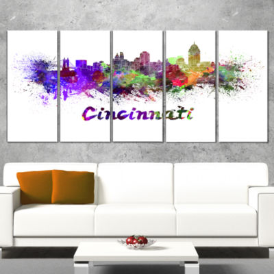 Designart Cincinnati Skyline Large Cityscape Canvas ArtworkPrint - 5 Panels