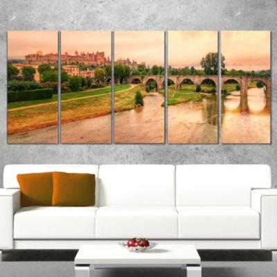 Designart Cite De Carcassonne Panorama Landscape Canvas ArtPrint - 4 Panels