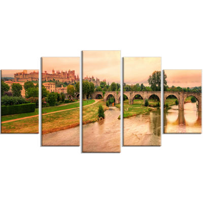 Designart Cite De Carcassonne Panorama Landscape Wrapped Canvas Art Print - 5 Panels