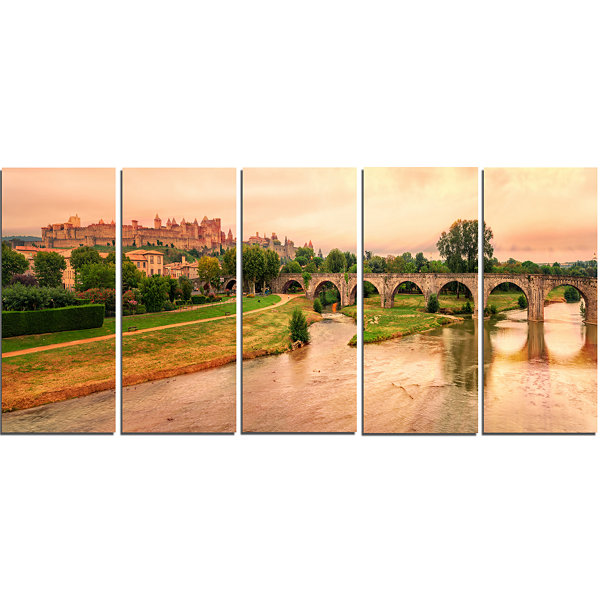 Designart Cite De Carcassonne Panorama Landscape Canvas ArtPrint - 5 Panels