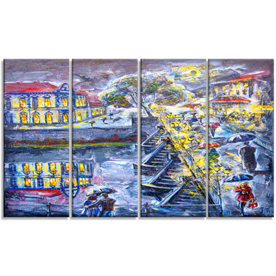 Designart City at Night Graphics Art Cityscape Canvas Artwork - 4 Panels