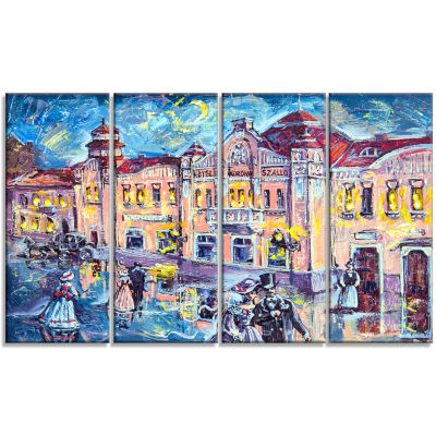 City at Night with People Cityscape Canvas Print -4 Panels