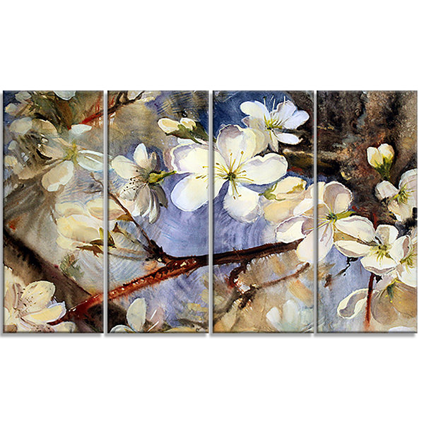 Designart White Spring Flowers Floral Art Canvas Print - 4 Panels