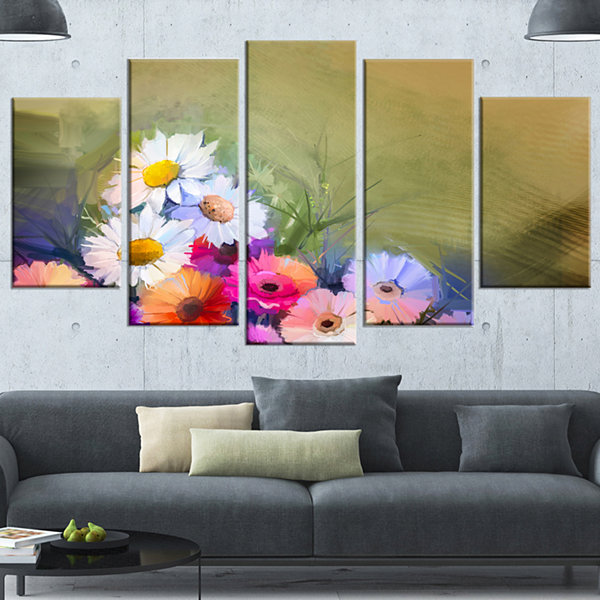 Designart White Sunflower and Gerbera Flowers Floral CanvasArt Print - 4 Panels