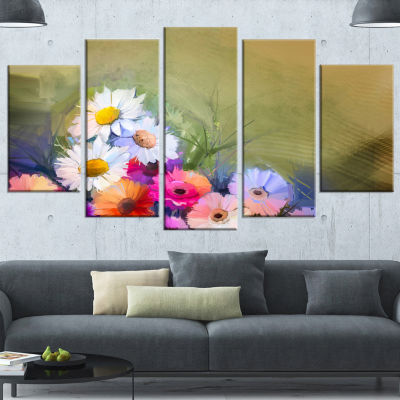 Designart White Sunflower and Gerbera Flowers Floral WrappedArt Print - 5 Panels