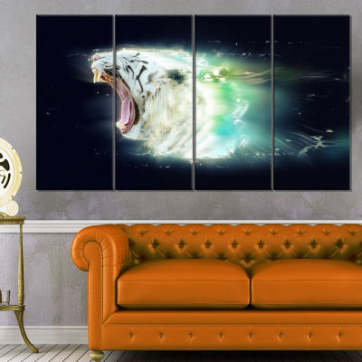 White Tiger with Open Jaws Animal Canvas Wall Art- 4 Panels
