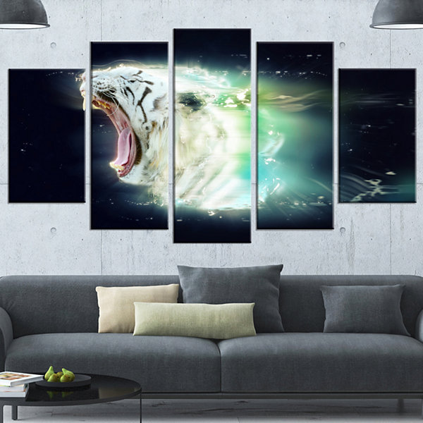 Designart White Tiger with Open Jaws Animal Wrapped Wall Art- 5 Panels