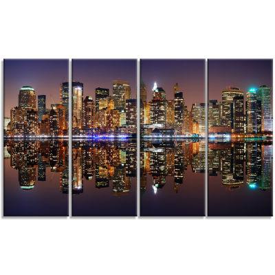 Designart City of Manhattan Panorama Cityscape Photo CanvasPrint - 4 Panels