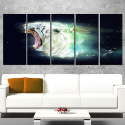 Designart White Tiger with Open Jaws Animal CanvasWall Art- 5 Panels
