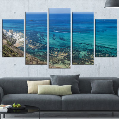 Designart White Tip Agrigento in Sicily Italy Landscape Print Wrapped Wall Artwork - 5 Panels