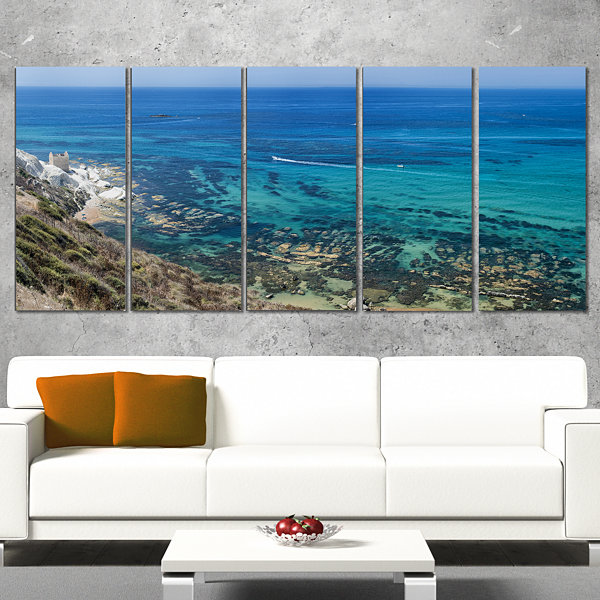 Designart White Tip Agrigento in Sicily Italy Landscape Print Wall Artwork - 5 Panels